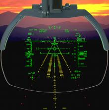A view of a head-up display from a civil airliner cockpit