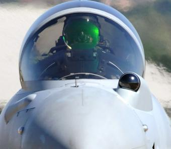 Infrared Search & Track Dome on a Eurofighter Typhoon
