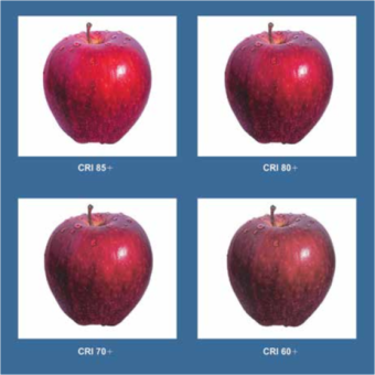 Figure 3. The color rendering index (CRI) indicates how well a light source reproduces colors compared to an ideal or natural light source. The higher the CRI, the better the light source. Incandescent lamps are an ideal light source with a CRI of 100.