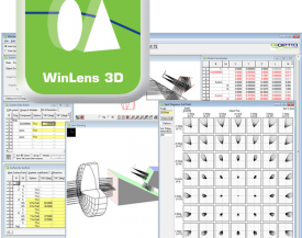 Screen shot of WinLens Optical Design Software showing Edge thickness and relative illumination functions